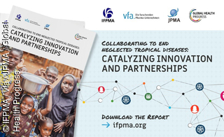 Cover der IFPMA-NTD-Broschüre. Titel: Collaborating to end neglected tropical diseases: Catalyzing innovation and partnerships
